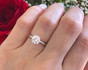 Forever One 1 5 Ct Round Solitaire Engagement Ring Solid 14 1 In 2020 Moissanite Engagement Ring White Gold Round Solitaire Engagement Ring Engagement Rings Round Gold