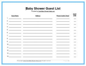 free printable baby shower guest list waiter resume examples for
