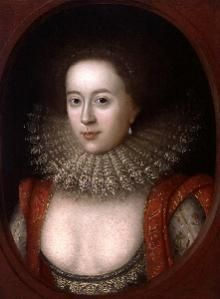 It was common for unmarried women of Tudor times to wear very low-cut bodices. Married women added a partlet, for modesty's sake. Note the Ruff. This fashion accessory started as a high frilled collar in the fashion of the Middle Ages. It grew larger and more exaggerated later.