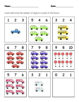 An Early Math Worksheet For Little Car And Truck Lovers This Worksheet Focuses On Counting Preschool Counting Cars Preschool Kindergarten Literacy Worksheets