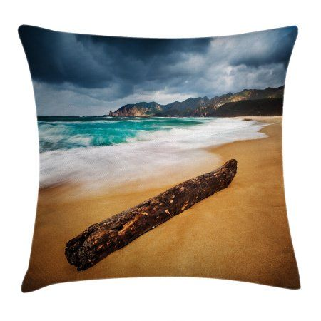 Beach Various 4 Piece Bedding Set,Seascape Theme Landscape of the Beach and the Cloudy Sky in Summer Digital Print for Living Room,Twin