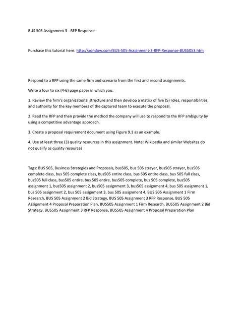 Bus 505 assignment 3 rfp response strayer university new - rfp response cover letter sample