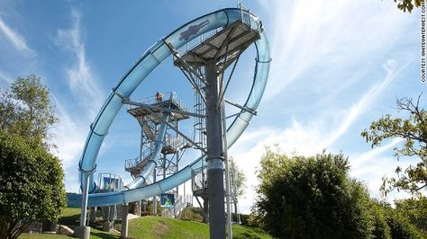 On the big attraction at Ixtapan Parque Acuatico, the drop that follows a fall through a trapdoor propels riders to 60 kilometers an hour --...