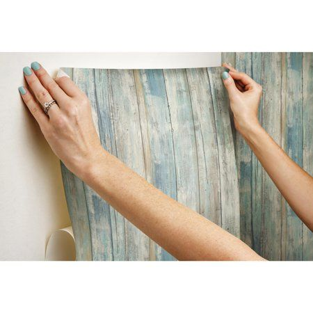 Roommates Blue Distressed Wood Peel And Stick Wall D Eacute Cor Wallpaper Image 4 Of 10 Distressed Wood Wallpaper How To Distress Wood Wood Wallpaper
