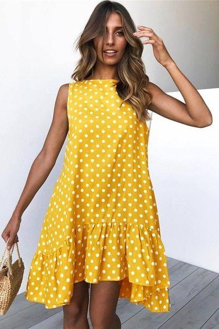 Plus Size Womens Summer Sleeveless Loose Mini Dresses Polka Dot Blouses Sundress