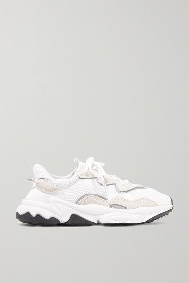 Ozweego suede and neoprene trimmed mesh sneakers