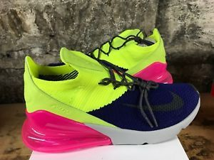Nike Air Max 270 Flyknit Neon Navy Blue Hot Pink White Running