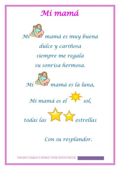 Poesía Para Educación Infantil Mothers Day Poems Poetry For Kids Preschool Poems
