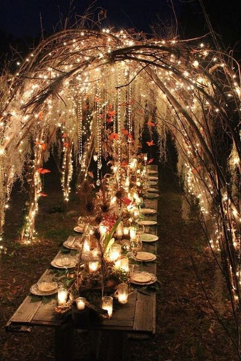 an enchanted forest wedding reception under vine arches decorated with lights and red origami garlands plus candles and red blooms on the table wedding lights Forest Wedding Reception, Wedding Reception Lighting, Wedding Ceremony Ideas, Wedding In Forest, Forest Theme Weddings, Reception Decorations, Wedding Tips, Fall Wedding, Forest Wedding Decorations