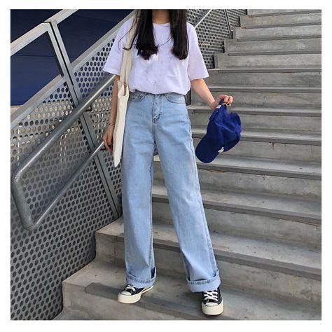 US $22.8 |Hot Sale 2019 Fashion Spring Korean Style High Waist Jeans Loose Women Casual Straight Denim Light Blue Jeans|Jeans|   - AliExpress