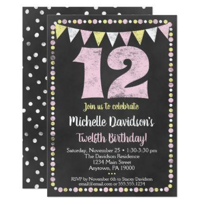 Pink Yellow Chalkboard 12th Birthday Invitation Zazzle Com