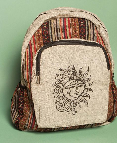 Large Sun & Moon Backpack Eco, Organic, Hippie, Yoga and USA Made Clothing at Soul Flower Mochila Hippie, Hippie Boho, Hippie Vibes, Grunge Hippie, Tie Dye Outfits, Boho Outfits, Cute Hippie Outfits, Boho Overall, Hippie Backpack