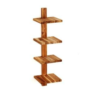 Takara Column Shelf 8 in. x 8.5 in. x 33 in. Teak Wood Wall-Mounted  Decorative Wall Shelf