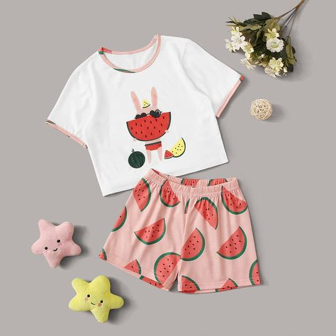 Multicolor Casual  Short Sleeve Polyester Cartoon Fruit&Vegetable Short Sets  Slight Stretch  Toddler Girl Loungewear, size features are:Bust: ,Length:  ,Sleeve Length:Short Sleeve #toddler #girls #watermelon #cartoon #graphic #set #kids #shein