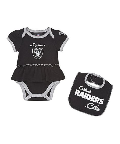What we need for our baby girl! Oakland Raiders Skirted Bodysuit & Bib - Infant on zulily today!
