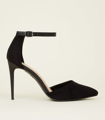 9925576dac0 Black Suedette Faux Snake Strap Pointed Court Shoes | Welcome to ...
