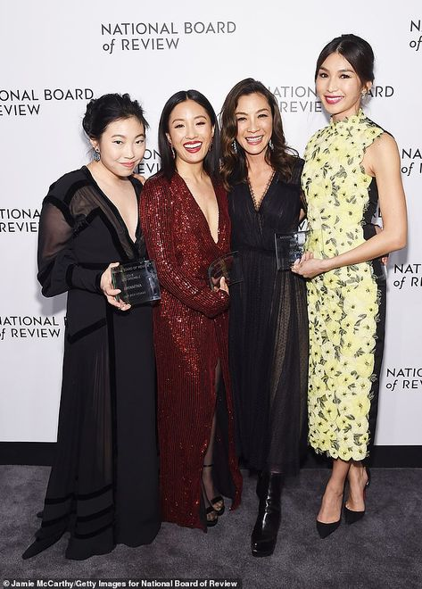 Champions: Crazy Rich Asians stars (from L-R) Awkwafina, Constance Wu, Michelle Yeoh, and ...