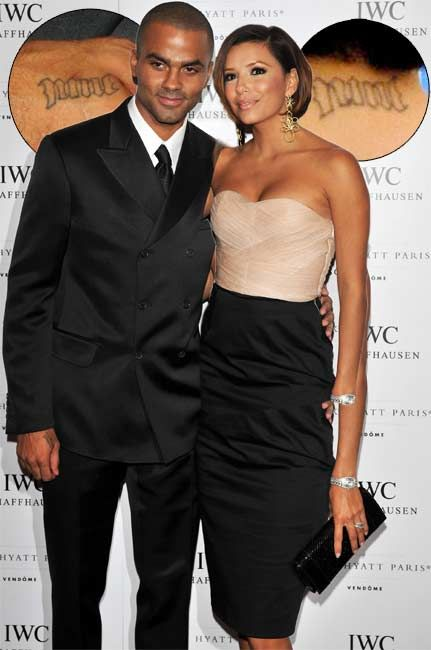 Tony Parker With Eva Longoria At A Charity Event In Paris Showed Off A Nine Tattoo On His Right Hand To Match The One On Her N Dresses Eva Longoria Fashion