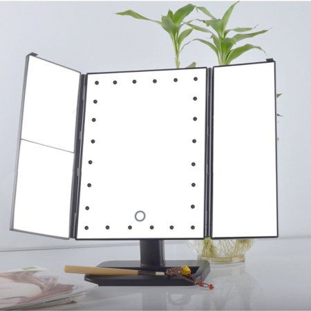 Led Lighted Vanity Makeup Mirror Estink Trifold Rectangle 3 Way