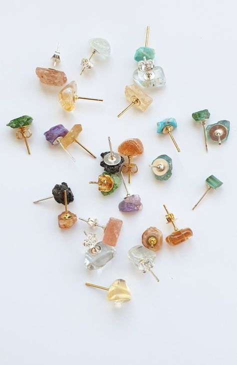 Gemstone Studs Awesome Raw Stone Stud Earrings -each piece is unique!) Awesome Raw Stone Stud Earrings -each piece is unique! Unique Earrings, Gemstone Earrings, Stud Earrings, Raw Gemstone Jewelry, Crystal Earrings, Diamond Earrings, Raw Crystal Jewelry, Earring Studs, Natural Stone Jewelry