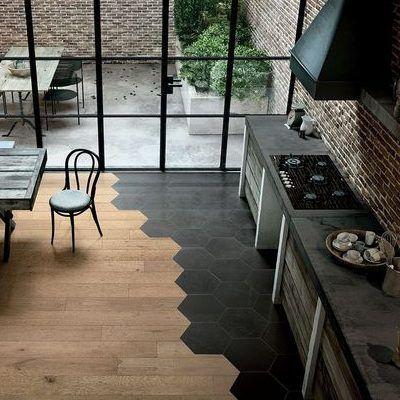 Studio Cement Tile Hex 101 Black 8x9 Cement Tiles In Stock Ready To Ship Minimalist Kitchen Design Cement Tile Tile Design