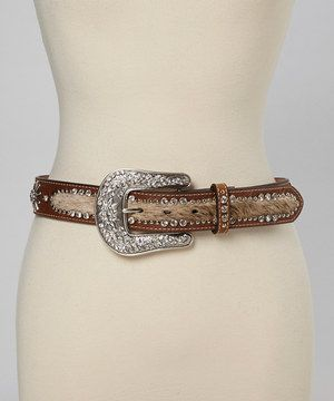 Look at this #zulilyfind! Medium Brown Cowhair Starburst Belt by Nocona Belt Co. #zulilyfinds