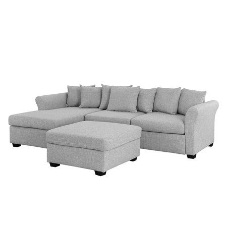 Upholstered 96 Inch Sectional Sofa With Ottoman L Shape Couch With Chaise Light Grey Walmart Com Couch With Chaise L Shaped Couch Sectional Sofa Couch