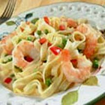 Shrimp and Garlic Fettuccine Alfredo.