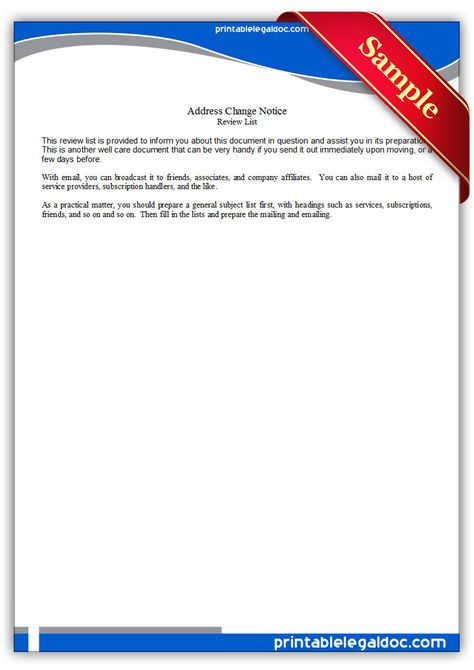 Printable Sample address change notice Form Printable Sample - address change form