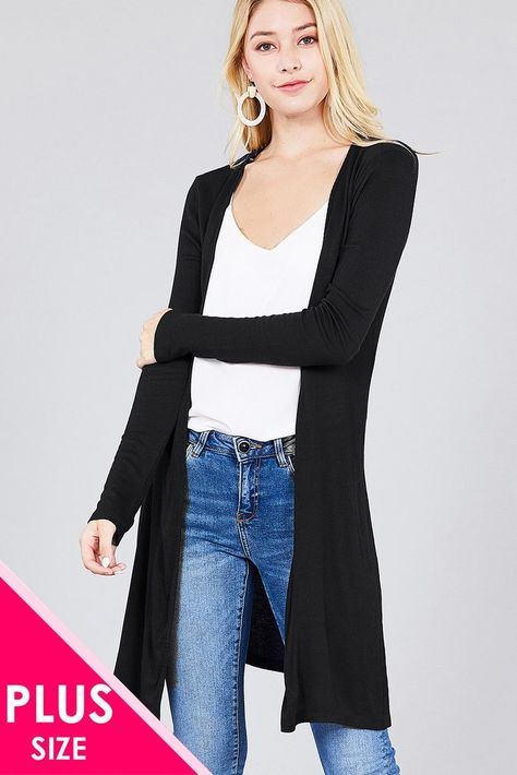 30a176564a Ladies fashion plus size long sleeve open front side slit tunic length  rayon spandex rib cardigan