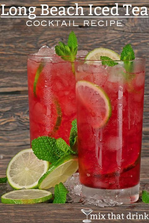 The Long Beach Iced Tea drink recipe is a refreshing alternative to the Long Island Iced Tea. This tart cocktail blends several liquors with lemon and cranberry juice. # Food and Drink ideas cranberry juice Long Beach Iced Tea Iced Tea Cocktails, Cocktail Drinks, Cocktail Recipes, Cocktail Movie, Cocktail Attire, Cocktail Shaker, Juice Drinks, Drinks With Cranberry Juice, Liquor Drinks