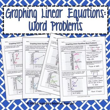 In This Activity Students Are Asked To Create An Equation Given A Real World Scenario They Mu Graphing Linear Equations Word Problems Word Problem Worksheets Graphing linear equations practice worksheet