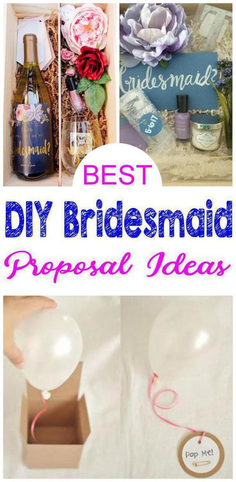 DIY Bridesmaid Proposals! BEST DIY bridesmaid proposal gift ideas your future bridesmaids & maid of honors & junior bridesmaids will love. Future brides will love to give any of these AMAZING bridesmaid proposal gift ideas- DIY ideas, box, creative,useful, unique, fun, cheap, affordable & more. Easy DIY bridesmaid proposals that everyone will want! Click for these cute DIY bridesmaid proposal gifts :)
