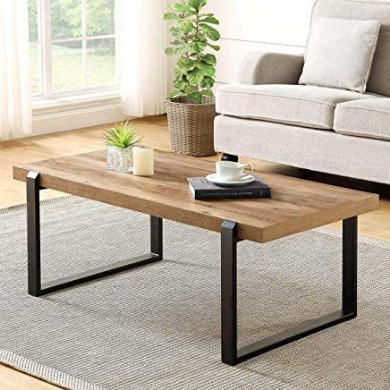 Foluban Rustic Coffee Table Wood And Metal Industrial Cocktail Table For Living Room Oak Cocktail Tables Living Room Coffee Table Rustic Coffee Tables