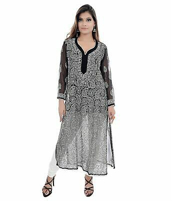 Details about  /Indian Lucknowi Chikankari Georgette Black Jaal Kurti Party Wear Pakistani Kurta
