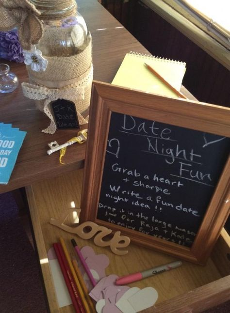 Everyone writes date idea on paper hearts - for wedding or wedding shower