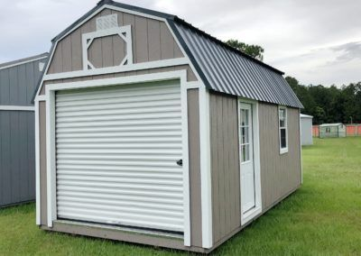 Lofted Barn 10x20 With 8 Roll Up And Side Entry Door Set Up Like A Workshop But With Interior Lo Portable Buildings Outdoor Storage Solutions Outdoor Storage