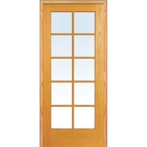 Mmi Door 37 5 In X 81 75 In Classic Clear Glass 10 Lite True Divided Unfinished Pine W French Doors Interior Glass French Doors Prehung Interior French Doors