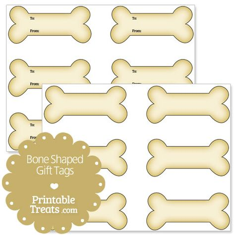Printable Bone Shaped Gift Tags - Printable Treats