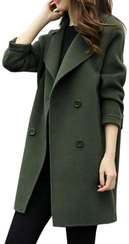 296eede41b2 HARRYSTORE Womens Autumn Winter Jacket Casual Outwear Parka Cardigan Slim Coat  Overcoat (XXL Army Green