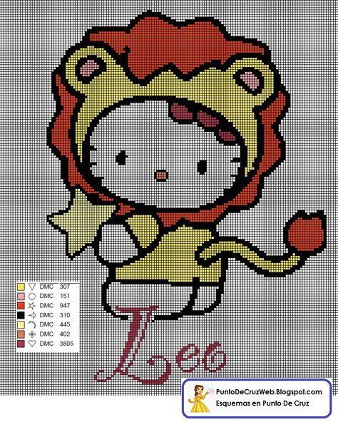 Punto De Cruz Horoscopo Hello Kitty Leo. www.puntodecruzweb.blogspot.com