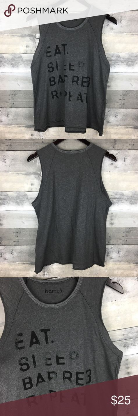 """Pure Barre Sz L Raglan Muscle Tee Eat Sleep Barre Pure Barre Womens Size L Raglan Muscle Tee Eat Sleep Barre Repeat Gray Active  Condition: New Without Tags! No signs of wear! Tag Size: L Measurements: Armpit to armpit:19"""" Length:24"""" front; 25"""" back  Please follow me for more great items and sweet deals! Thank you for shopping! Pure Barre Tops Muscle Tees"""
