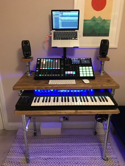 Industrial Style Music Desk/Audio Workstation/Home Recording Studio Desk, To Your Exact Requirements, Scaffold Board, Steel Tube Home Recording Studio Setup, Recording Studio Furniture, Home Studio Setup, Music Studio Room, Studio Ideas, Music Recording Equipment, Audio Studio, Film Studio, Configuration Home Studio