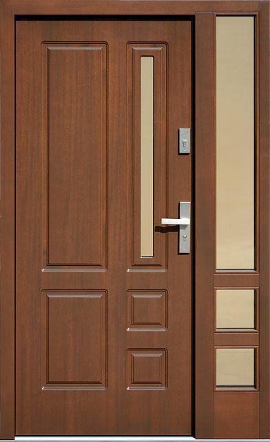 Drzwi Zewnetrzne Z Doswietlem Dostawka Boczna Z Szyba Model 590s4 W Kolorze Orzech Wooden Front Door Design Wooden Main Door Design Modern Wooden Doors