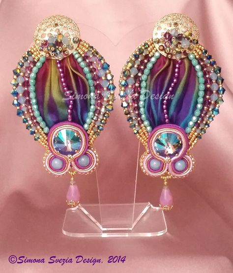 Orecchini / Earrings BALLOONS con seta shibori por PerlineeBijoux