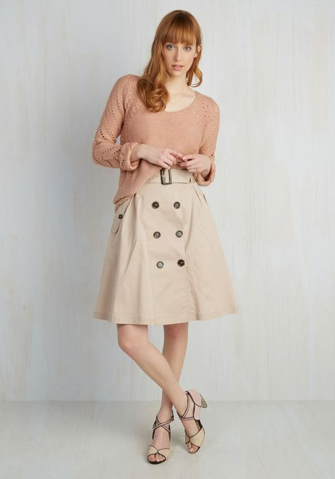 d398a2e98326c Reminiscent Vision Skirt. Observing your reflection twirl in this khaki  midi