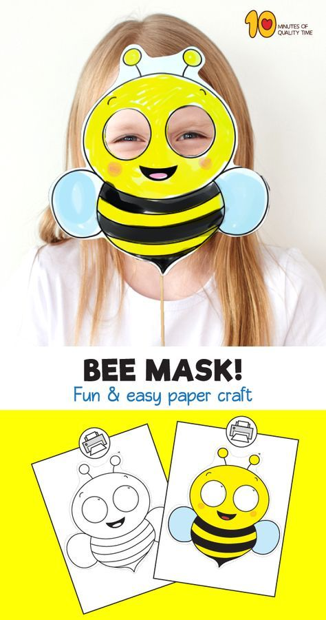 Bee Printable Paper Mask Bee Crafts For Kids Paper Mask Bees For Kids