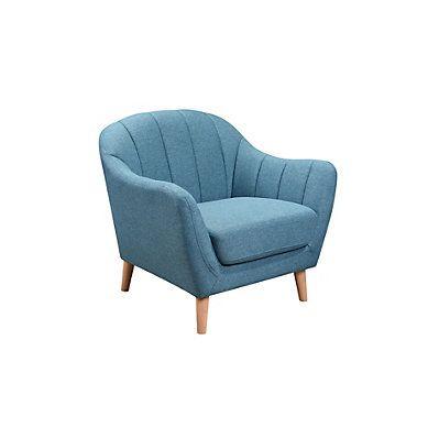 fauteuil scandinave tissu bleu loki