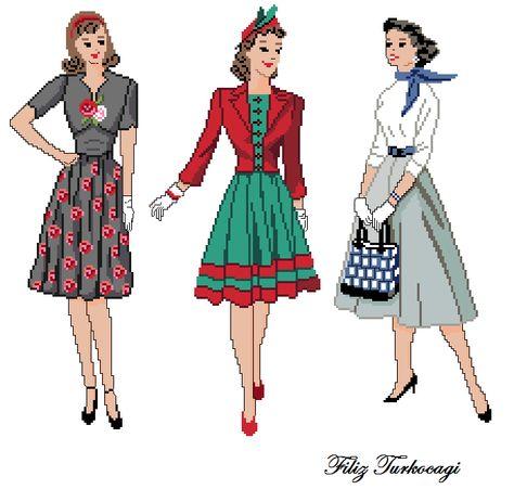 Gündemden çok da ayrı düşmeyeyim diye ben de ' eski elbiseler' çalışmıştım. Yıllarından çok emin değilim ama, 50'ler 60'lar gibi olabilir. Hata yaptıysam af ediniz :) Üçlü bir seri olarak sunuyorum yine...( Vintage Dress ) Designed by Filiz Türkocağı