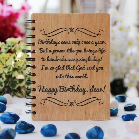 Happy Birthday Personalized Wooden Notebook - Large / Okoume